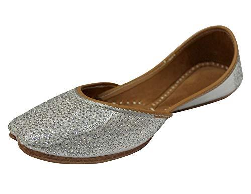 Stop n Style Punjabi Jutti Swarovaski Jutti Khussa Online Juttis Salwar Kameez Jutti Mojari Schuhe Punjabi Juttis, Silber (silber), 36 EU
