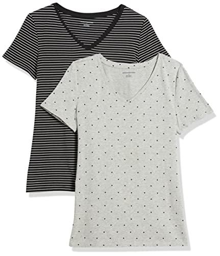 Amazon Essentials Women's 2-Pack V-Neck Classic-Fit Short-Sleeve Tee Shirt, Black Stripe/Heart Print, Large