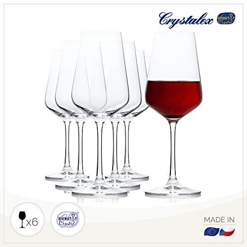 Bohemia Cristal Sandra - Copa de Vino (6 Unidades, en Caja de Regalo, Capacidad 350 mililitros, Talla única)