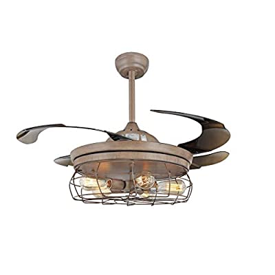 42'' Ceiling Fans Invisible Retractable Blades Farmhouse Industrial Pendant Lamp Chandelier Remote Control 5 Edison Bulbs (Brown Finish) (Youtube video demo)