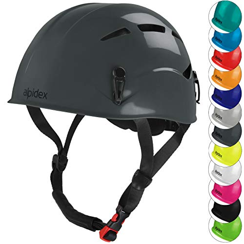 ALPIDEX Universal Kletterhelm für Herren und Damen Klettersteighelm in unterschiedlichen Farben, Farbe:Mountain Grey
