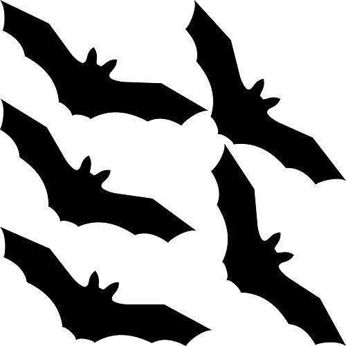 GreenIT 5 Stück 20cm Fledermaus schwarz Aufkleber Tattoo Vogel Warnvögel Fenster Schutz Deko Folie