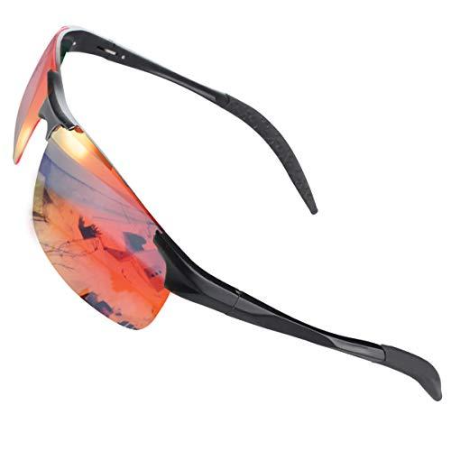 CHEREEKI Sports Sonnenbrille, Polarisierte Fahrradbrille mit UV400 Schutz, Sportbrille für Herren Damen Radfahren Autofahren Fischen Laufen Wandern Laufen(Orange)