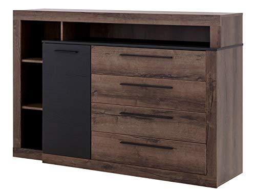Furniture24 Komode Bellevue, Sideboard, 4 Schubkästen, 1 Tür, Schlammeiche, Schwarzeiche, Schlafzimmer, Schubladenkommode