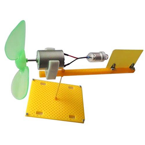 MagiDeal Mini Elektro Wind Turbine Motor Generator Generatoren LED Klinge Lehrmittel für Kinder