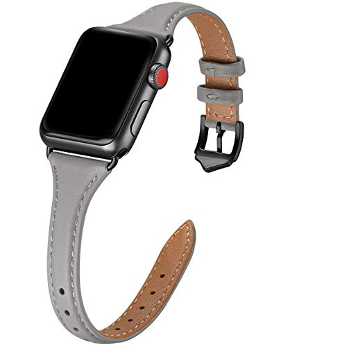 WFEAGL Leather Bands Compatible with Apple Watch 38mm 40mm 42mm 44mm, Top Grain Leather Band Slim & Thin Wristband for iWatch SE & Series 6/5/4/3/2/1 (Gray Band+Black Adapter, 38mm 40mm)