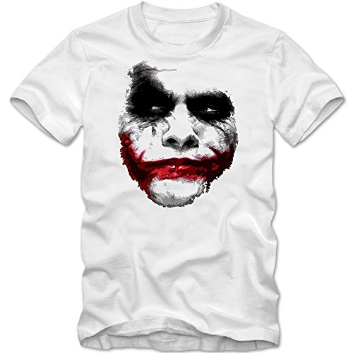 Joker T-Shirt | Herren | Shadow | Heath Ledger | Movie | Clown | Horror, Farbe:weiß (White);Größe:XS