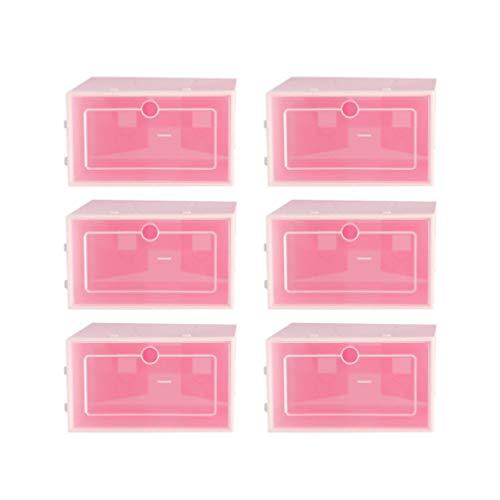 Cabilock 6 Unidades de Caja de Zapatos de Color Rosa Transparente Caja de Zapatos de Almacenamiento Plegable Apilable Cajas de Zapatos de Plástico Transparente Cajas de Zapatos a Prueba de