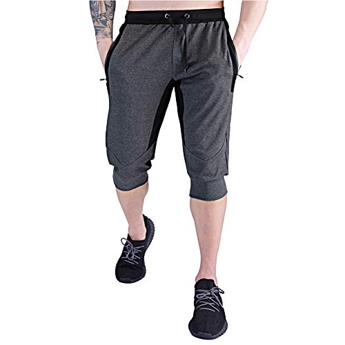 BUXKR Men's 3/4 Jogger Pants,Capri Shorts with Zipper Pockets for Gym and Workout,Dark Grey,XL
