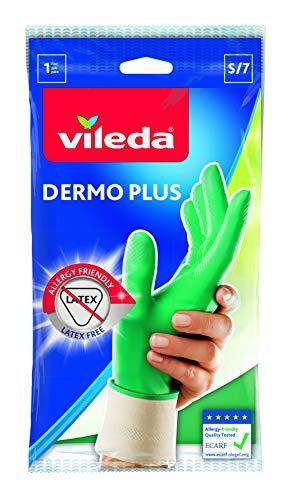 Vileda Dermo Plus/Sanft & Schonend Gummihandschuhe, latexfrei, idealer Tragekomfort, Größe S, 1 Paar