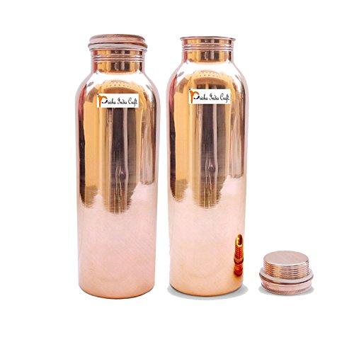 600 ml / 20.28 Oz - Set von 2 - Prisha Indien Craft ® - Traveller\'s 100 {cffffb69417fcbf2f693cca4939f1d70b51a102743710918d9c76b698c124423} reines Kupfer Wasserflasche oder Thermoskanne für Ayurvedic Health Vorteile Wasserflasche - Weihnachtsgeschenk