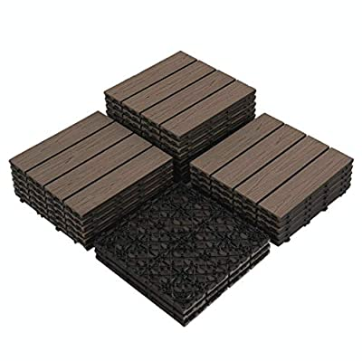 "PANDAHOME 22 PCS Wood Plastic Composites Patio Deck Tiles, 12""x12"" Interlocking Decking Tiles, Water Resistant for Indoor & Outdoor, 22 sq. ft - Brazilian Ipe"