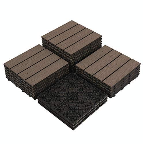 """PANDAHOME 22 PCS Wood Plastic Composite Patio Deck Tiles, 12""""x12"""" Interlocking Decking Tiles, Water Resistant for Indoor & Outdoor, 22 sq. ft - Brazilian Ipe"""