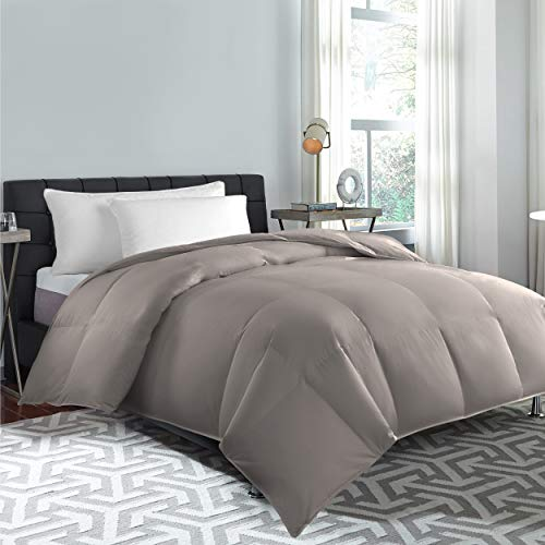 Cannon Home 100% Cotton White Goose Duck Down and Feather Filling Comforter 240 Thread Count Hypoallergenic Lightweight All Season Duvet Insert, TWIN, Taupe