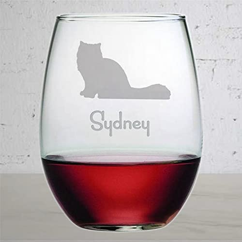 Vaso de vino personalizado con diseño de gato persa, divertido sin tallo, grabado con láser, para whisky, idea única de novedad para él, ella, yo212 de 15 onzas