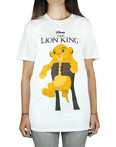 Disney Löwenkönig Simba Cub Circle of Life Frauen Boyfriend Fit weißes T-Shirt
