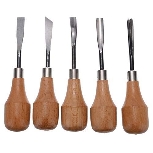 YAMEIJIA 5 Piezas Cinceles para Madera Juego de torneado de cincel de Torno de Madera DIY Cincel de Mano de Talla de Madera Profesional para Carpintería