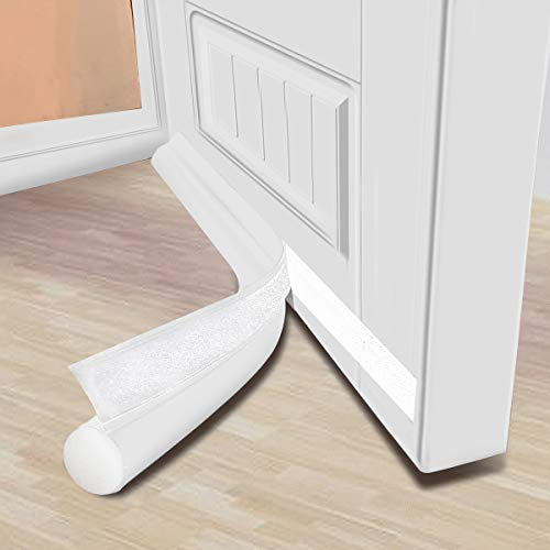 MAXTID Door Draft Stopper 36 inches White Under Noise Blocker Door Silencer Sound Proof Door Gap Guard