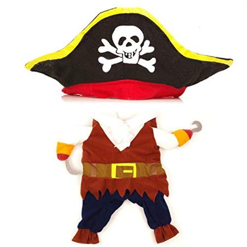 WYXMZ Ropa Divertida para Mascotas Cosplay Perro Pirata Gato Fiesta de Halloween Lindo Disfraz cmodo Ropa para Perros pequeos medianos Disfraz de corsario