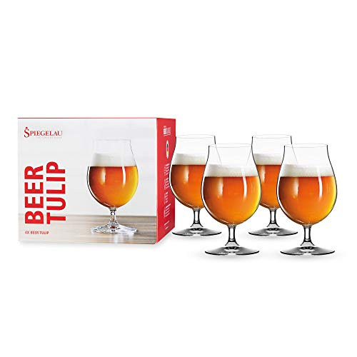 Spiegelau Beer Classics Tulip Glasses, Set of 4, European-Made Lead-Free Crystal, Modern Beer Glasses, Dishwasher Safe, Professional Quality Beer Tulip Glass Gift Set, 15.5 oz