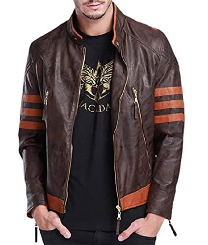 EU Fashions X Origins - Chaqueta de piel para hombre, color marrón