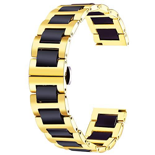 BINLUN Correa de Reloj de Acero Inoxidable Pulsera de Reloj de Cerámica Pulida Correa 12mm/14mm/16mm/18mm/20mm/22mm con Mariposa Hebilla 6 Colores