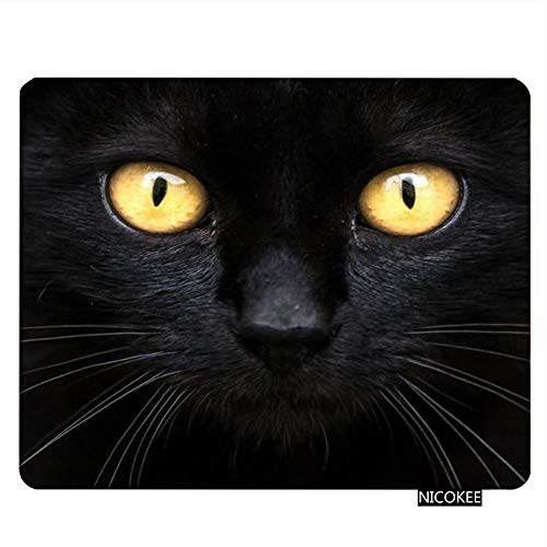 NICOKEE Cat Rectangle Gaming Mousepad The Black Cat in The Dark Mouse Pad Mouse Mat for Computer Desk Laptop Office 9.5 X 7.9 Inch Non-Slip Rubber