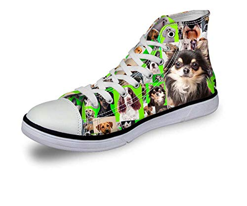 Cute Dog Women Men Designer Green High Top Lace Up Green Trainers Canvas Shoes pattern5 CA5275AK UK 10/EU43