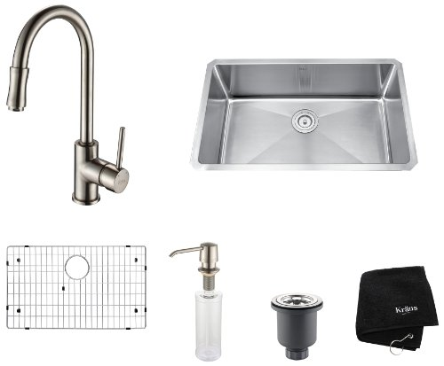 Product Image of the Kraus KHU100-30-KPF1622-KSD30SN 30 inch Undermount Single Bowl Stainless Steel Kitchen Sink with Satin Nickel Kitchen Faucet and Soap Dispenser