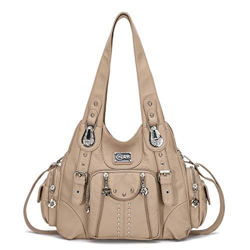 KL928 Damen Tasche Handtasche Schultertasche Umhängetaschen weiches PU leder Damenhandtasche Henkeltaschen Lederhandtasche Hobo taschen für Damen (XS160199-beige)