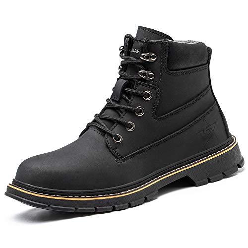 [マンディー] 安全靴 防水 ハイカット あんぜん靴 作業靴 ブーツ 鋼先芯 おしゃれ 耐滑 セーフティシューズ 軽量 衝撃吸収 チェルシー ブーツ 916/ブラック/38