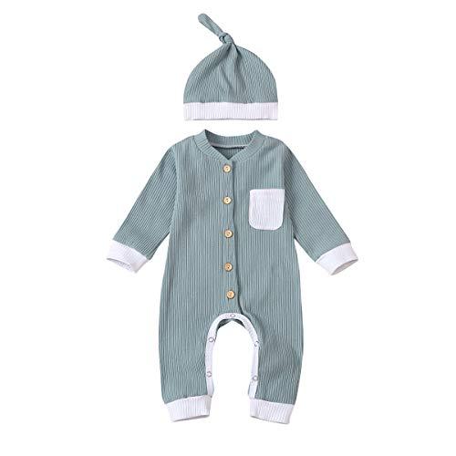 Neugeborenes Unisex Baby Junge Mädchen Strampler Langarm Bodysuit Solide Overall...