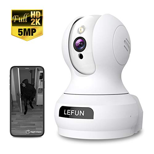Wireless Camera, 5MP HD Lefun Security Camera, Surveillance WiFi IP Camera for Baby/Pet/Dog/Nanny/Home/Indoor Security Camera with Sound Motion Detect Deterrent Alarm Two-Way Audio Night Vision