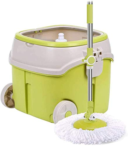 Spin Mop and Bucketspin Mop Rotating Mop and Detachable Bucket Set with 2 Pieces of Microfiber Mop Pad Magic Microfiber Floor Mop and Stainless Steel Spinning Bucket Set