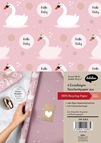 Geschenkpapier-Set zur Geburt für Baby-Mädchen: Schwäne: 4x Einzelbögen + 4x Geschenkanhänger