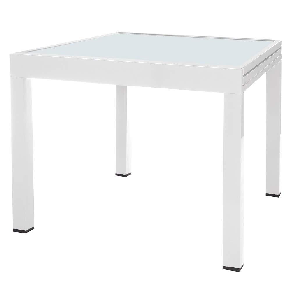 Mesa Extensible Blanca de Aluminio para terraza y Exterior Garden - LOLAhome: Amazon.es: Hogar