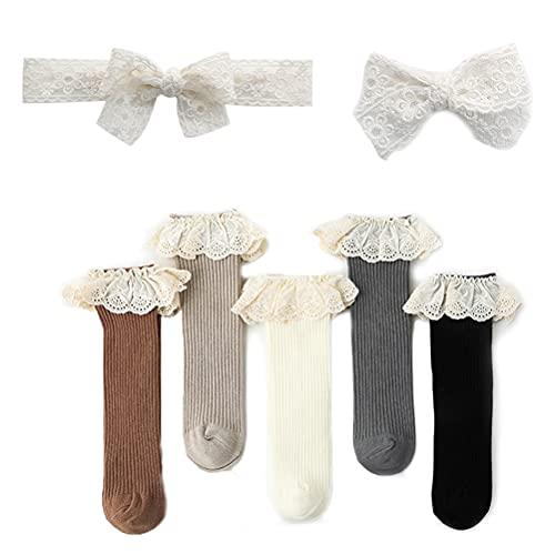 DYOU 5 pares por paquete de calcetines de encaje hasta la rodilla con lazo, medias con volantes, calcetines para bebés con 2 unidades de cordón para el pelo, blanco, 0-4 años