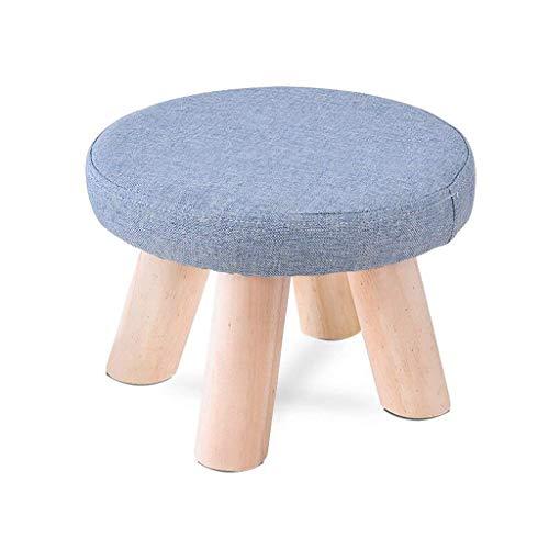 WECDS-E Bürostuhl runder Blauer Massivholz Vierbeiner Hocker Sofahocker Couchtisch Hocker (28 * 28 * 20 cm)