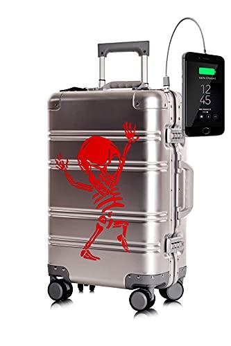 TOKYOTO - Maleta de Cabina 100% Aluminio Puro Metálica Juvenil Ultraligera Equipaje de Mano con Cargador USB, 80000mAh, 55x40x20 cm   Trolley de Viaje Ryanair, Easyjet   Rígida Silver Skull