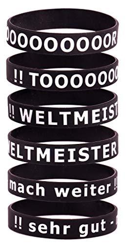 Motivationsarmbänder auf Deutsch Inspirierende Silikon Armbänder 6-teilig Armbandset für Herren,Damen, Sport-Party-Dekoration-Geschenk, Motiv Sport , Grösse: Erwachsene/Adult/Teens mit Geschenkbox