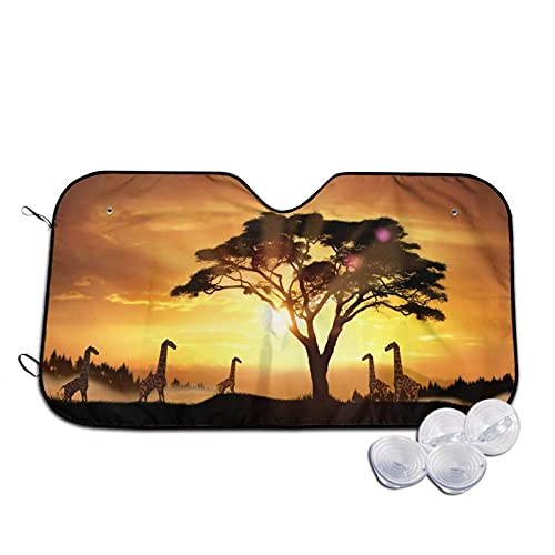 Car Windshield Cover for Sun Shade Protector, Front Windshield Cover Foldable Sunshade Fits Most Cars, Trucks, SUV?'s Origami Giraffes S