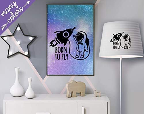 Geboren om te vliegen Vinyl Decal Sticker Space Rocket Decal Shuttle Sticker Spaceman Decal Astronaut Universum Planet Stickers Kids Room Sticker Decal