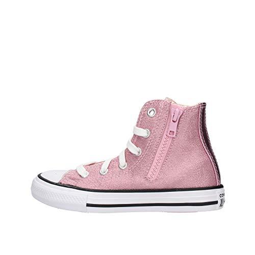 Obermaterial aus rosa Glitter mit weißer Sohle und seitlichem Reißverschluss, Pink - Rosa - Größe: 36 EU