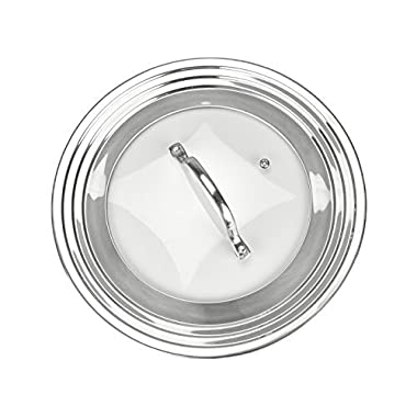 """Modern Innovations Elegant Stainless Steel and Glass Universal Lid, Fits All 7"""" to 12"""" Pots and Pans, Replacement Frying Pan Cover and Cookware Lids"""