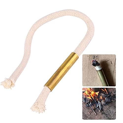 Changor Arrancador de Incendios, Cuerda de algodón y Tubo de Cobre Material de Calidad Cuerda de algodón de Inicio de Fuego para Caminatas para Acampar