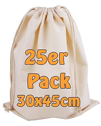 Cottonbagjoe Baumwollbeutel Stoffbeutel | mit Kordelzug | 30x45cm | 25 Stück| Zero Waste | Gemüsebeutel Lunchsack Kosmetikbeutel Sockenbeutel Spielzeugsack Turnbeutel Unterwäschebeutel