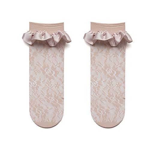 Telas de Seda románticas de Estilo japonés de Estilo Lolita Calcetines de Cordones Plisados con Cordones de Encaje Calcetines Calcetines (Color : Kaki, Size : One Size)