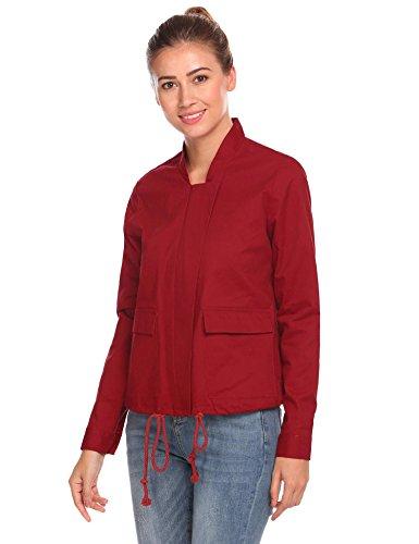 Zeela, giacca sportiva da donna casual, corta, impermeabile, funzionale e sportiva, con tasche rosso vivo L