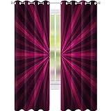 cortinas de bloqueo de luz, Abstracto Starburst Diseño Radial Líneas Vibrantes Vigas de Colores Futurista, W52 x L84 Sala de estar Dormitorio Cortinas de la Ventana, Rosa Fucsia Púrpura