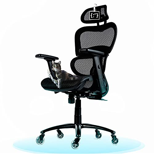 ObjectChair ErgoPro Ergonomic Office Chair with Lumbar Support and Rollerblade Wheels, Breathable Mesh Back - Big and Tall Office Chair, Computer Chair, Home Office Desk Chairs, Swivel Chair (Black)